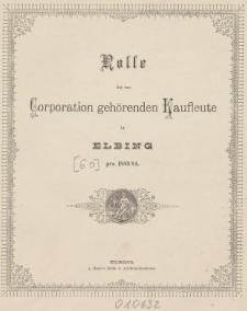 Rolle der Kaufmannschaft von Elbing pro 1883/84