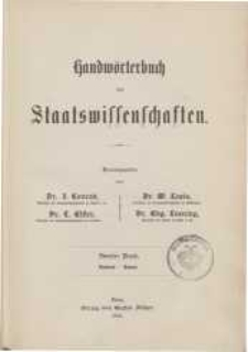 Handwörterbuch der Staatswissenschaften. Bd. 2: Babeuf-Dutot