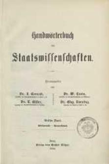 Handwörterbuch der Staatswissenschaften. Bd. 3: Edelmetalle-Gewerkschaft