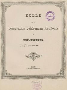 Rolle der Kaufmannschaft von Elbing pro 1885/86