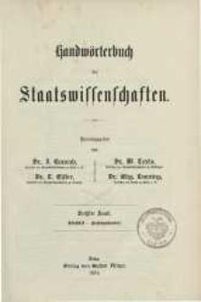 Handwörterbuch der Staatswissenschaften. Bd. 6: Statistik-Zwischenhandel