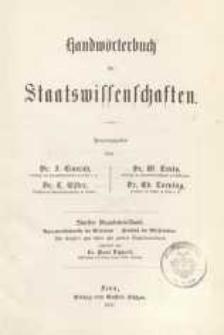 Handwörterbuch der Staatswissenschaften. Supplementband.