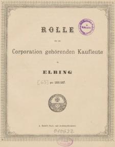 Rolle der Kaufmannschaft von Elbing pro 1886/87