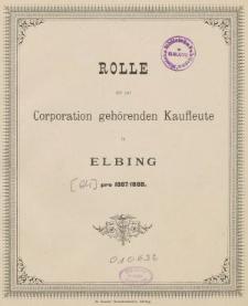 Rolle der Kaufmannschaft von Elbing pro 1887/88