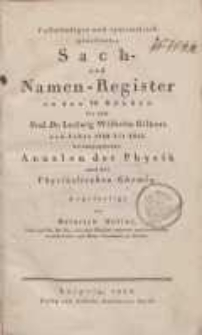 Annalen der Physik. (Register)