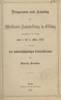 Programm und Katalog der Molkerei-Ausstellung in Elbing