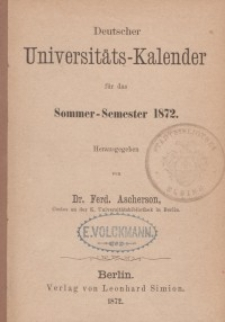 Deutscher Universitätskalender, 1872