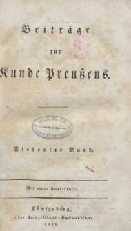 Beiträge zur Kunde Preußens. Bd. 7
