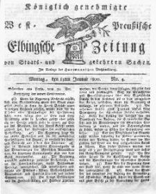 Elbingsche Zeitung, No. 4 Montag, 13 Januar 1800