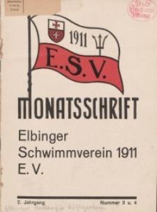 Monattschrift. Elbinger Schwimmverein Jg. 2, 1933, nr 3-4