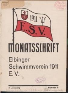 Monattschrift. Elbinger Schwimmverein Jg. 2, 1933, nr 5