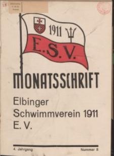 Monattschrift. Elbinger Schwimmverein Jg. 4, 1935, nr 8