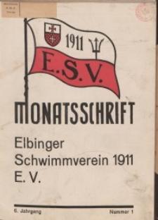 Monattschrift. Elbinger Schwimmverein Jg. 6, 1937, nr 1