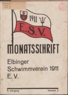 Monattschrift. Elbinger Schwimmverein Jg. 6, 1937, nr 2