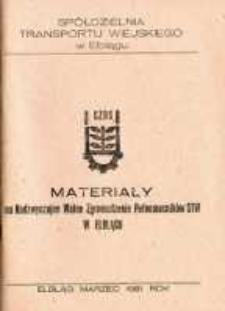 Materiały Na Nadzwyczajne Walne Zgromadzenie Pełnomocników Spółdzielni Transportu Wiejskiego w Elblągu w 1981 r. - biuletyn