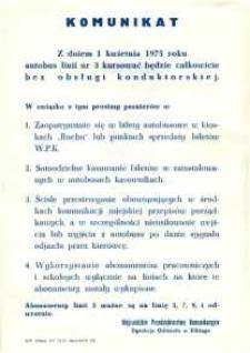 Komunikat w Sprawie Kursowania Autobusów Bez Obsługi Konduktorskiej - Linia 3 - afisz