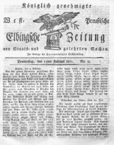 Elbingsche Zeitung, No. 13 Donnerstag, 13 Februar 1800