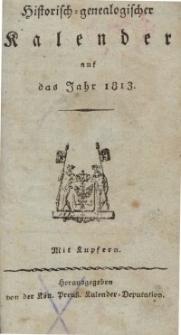 Historisch-genealogischer Kalender, 1813