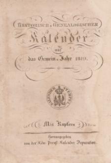 Historisch-genealogischer Kalender, 1819
