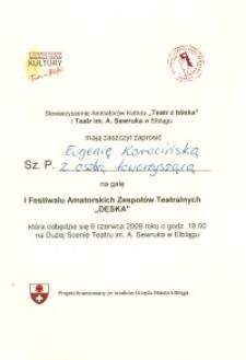 """I Festiwal Amatorskich Zespołów Teatralnych """"DESKA 2009"""" - zaproszenie"""