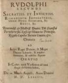 Rvdolphi Secvndi Sacratiss: Et Invictiss: Romanorvm Imperatoris ... Stanislai Pawłowski, Episcopi Olomucen ...