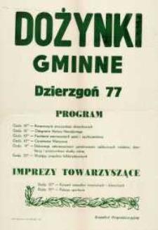 Uroczystości Dożynkowe 1977 r. Dożynki Gminne Dzierzgoń - afisz
