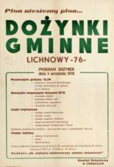 Uroczystości Dożynkowe 1976 r. Dożynki Gminne Lichnowy - afisz