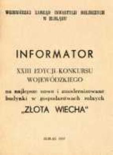 """XXIII Edycja Konkursu Wojewódzkiego """"Złota Wiecha - 87"""" - broszura"""