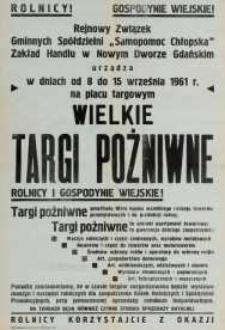 Wielkie Targi Pożniwne w Nowym Dworze Gdańskim - afisz