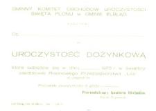 Uroczystości Dożynkowe 1975 r. Gminy Elbląg - zaproszenie