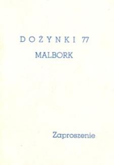 Uroczystości Dożynkowe 1977 r. Malbork - zaproszenie