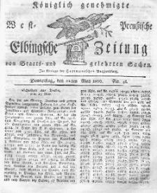Elbingsche Zeitung, No. 41 Donnerstag, 22 Mai 1800