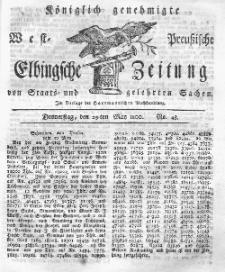 Elbingsche Zeitung, No. 43 Donnerstag, 29 Mai 1800