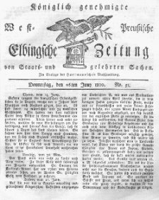 Elbingsche Zeitung, No. 51 Donnerstag, 26 Juni 1800