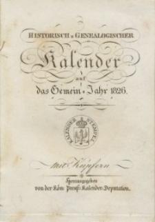 Historisch-genealogischer Kalender, 1826