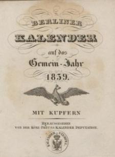 Berliner Kalender, 1839