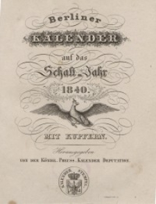 Berliner Kalender, 1840