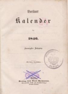 Berliner Kalender, 1846