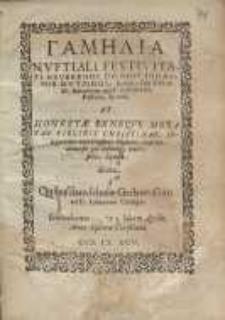 Gamelia [gr.] nuptiali festivitati [...] Iohannis Hutzingi, Ecclesiae Filij Dei ad D. Iohannem apud Gedanenses, Pastoris, Sponsi et [...] virginis Christinae [...] Crispini Flisneri...