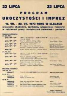 22 Lipca Program Uroczystości i Imprez w 1973 r. - Elbląg - afisz