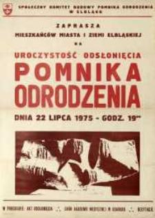 Uroczystość Odsłonięcia Pomnika Odrodzenia 22 Lipca 1975 r. - plakat