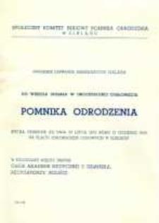 Uroczystość Odsłonięcia Pomnika Odrodzenia 22 Lipca 1975 r. - zaproszenie skierowane do mieszkańców