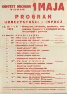 Program Uroczystości i Imprez Święta Pracy w Elblągu w 1975 r. - afisz