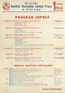 Program Imprez Towarzyszących Obchodom Święta Pracy w Elblągu w 1976 r. - afisz