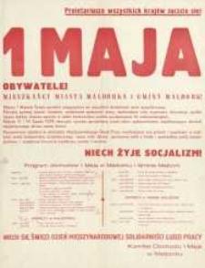 Święto 1 Maja Program Obchodów w Malborku i Gminie Malbork w 1977 r. - afisz