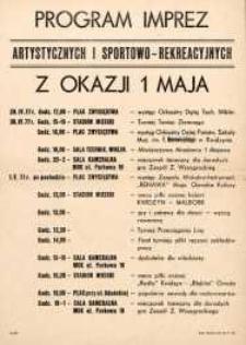 Święto 1 Maja - Program Imprez Artystycznych i Sportowo-Rekreacyjnych w Kwidzynie w 1977 r. - afisz