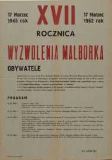 Siedemnasta Rocznica Wyzwolenia Malborka 1962 r. - afisz