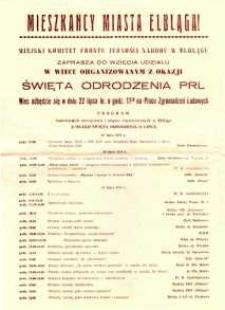 Mieszkańcy Miasta Elbląga! - wiec organizowany z okazji Święta Odrodzenia 22 lipca 1979 r. - zaproszenie