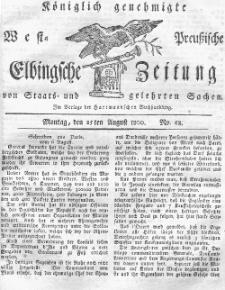 Elbingsche Zeitung, No. 68 Montag, 25 August 1800