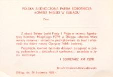 Obchody Święta Pracy w Elblągu w 1982 r. - kartka z życzeniami